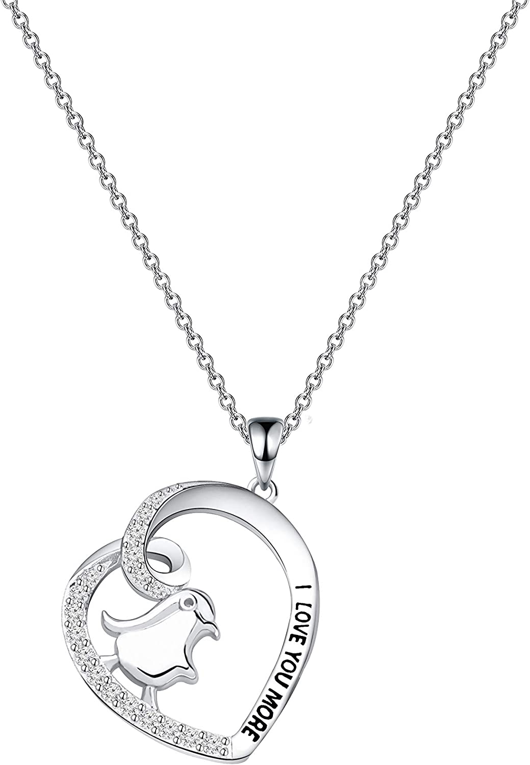 Silver Plated Penguin Necklace Gift \u2013 Cute Penguin Pendant \u2013 Charm Jewelry for Women Girls and Kids \u2013 with Message Card