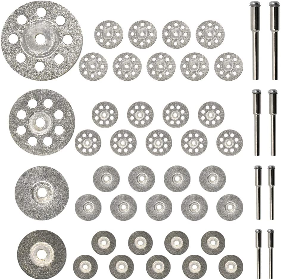 Diamond Cutting Wheel 40PCS (25mm/22mm/18mm/16mm Each 10) with Mandrel (3mm) 8pcs for Dremel Rotary Tool