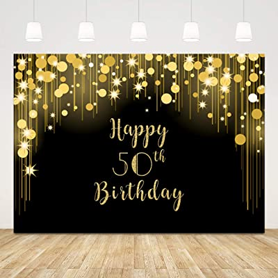 50th Birthday Photo Backdrop Black and Gold Happy Birthday Background with Shiny Light Spots 7x5ft Fifty Birthday Backdrop Gold 50 Years Cake Table Banner Party Supplies Decorations Photobooth Props