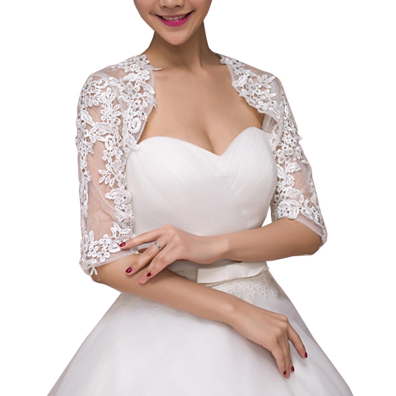 Women's Lace Half Sleeves Wedding Shrug Bridal Bolero Jackets Shawl (White, One size)