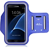 """MoKo Armband for Samsung S7 Edge, Sweatproof Sports Armband Exercise Running Arm Band Case for Samsung S7 Edge, with Key Holder, Great Earphone Connection, Indigo (Fits Arm Girth 10.8""""-16.5"""")"""