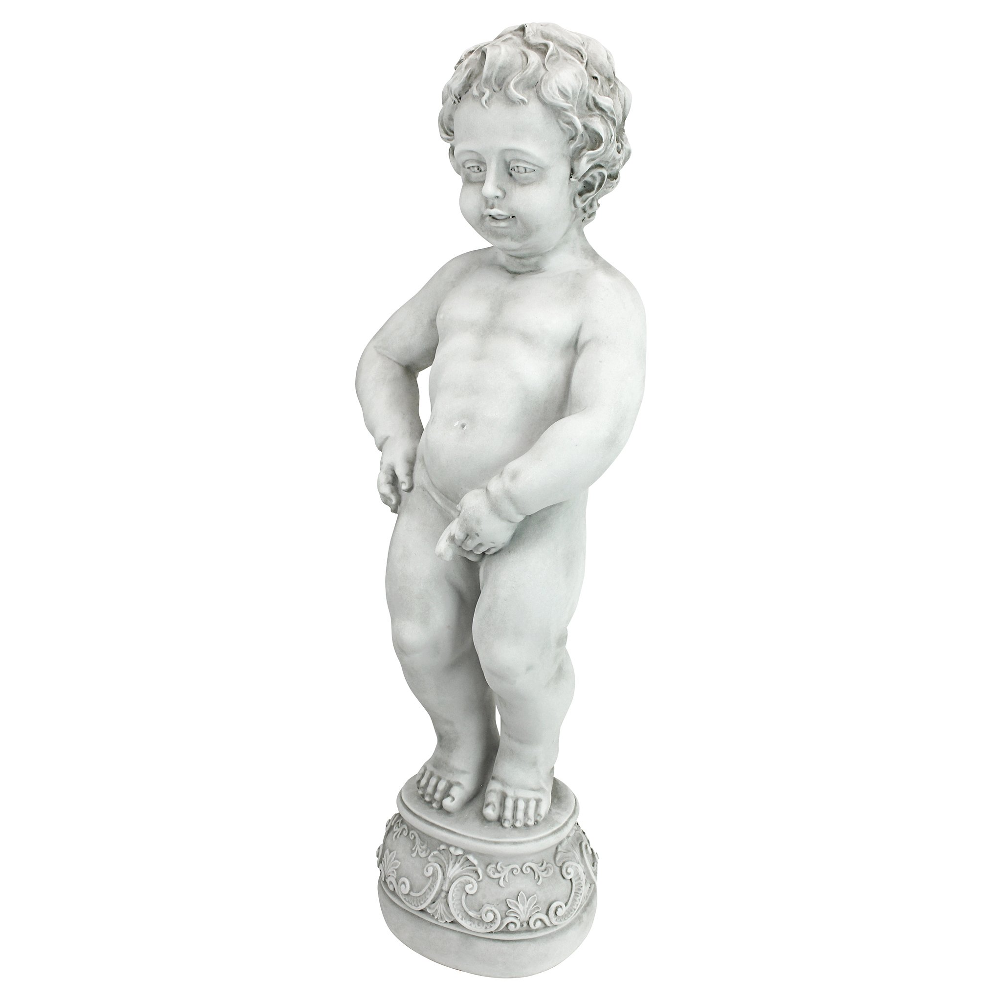 Design Toscano Manneken Pis Peeing Boy Piped Pond Spitter Statue Water Feature, 27 Inch, Polyresin, Antique Stone