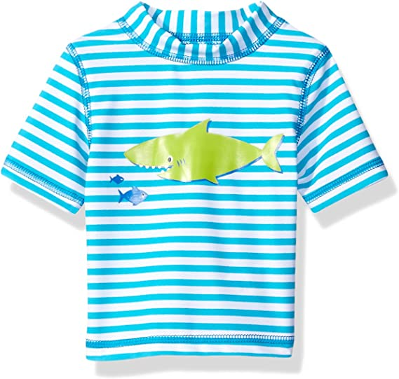 12 Months Blue Stripe Rashguard Suit Little Me Childrens Apparel Baby and Toddler Boys UPF 50