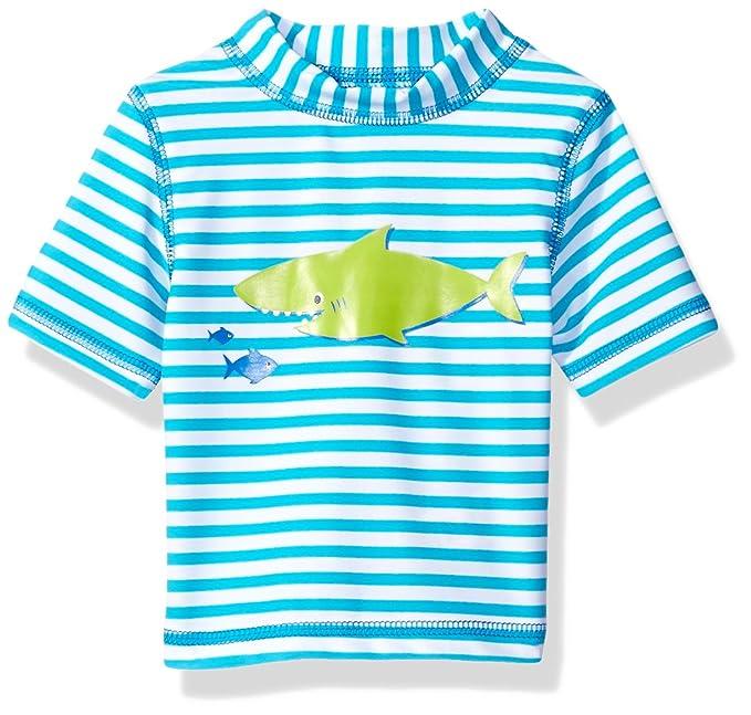 968b38e47a Little Me Baby Boys' Short Sleeve Rashguard Swim Shirt UPF 50+ , Blue Stripe