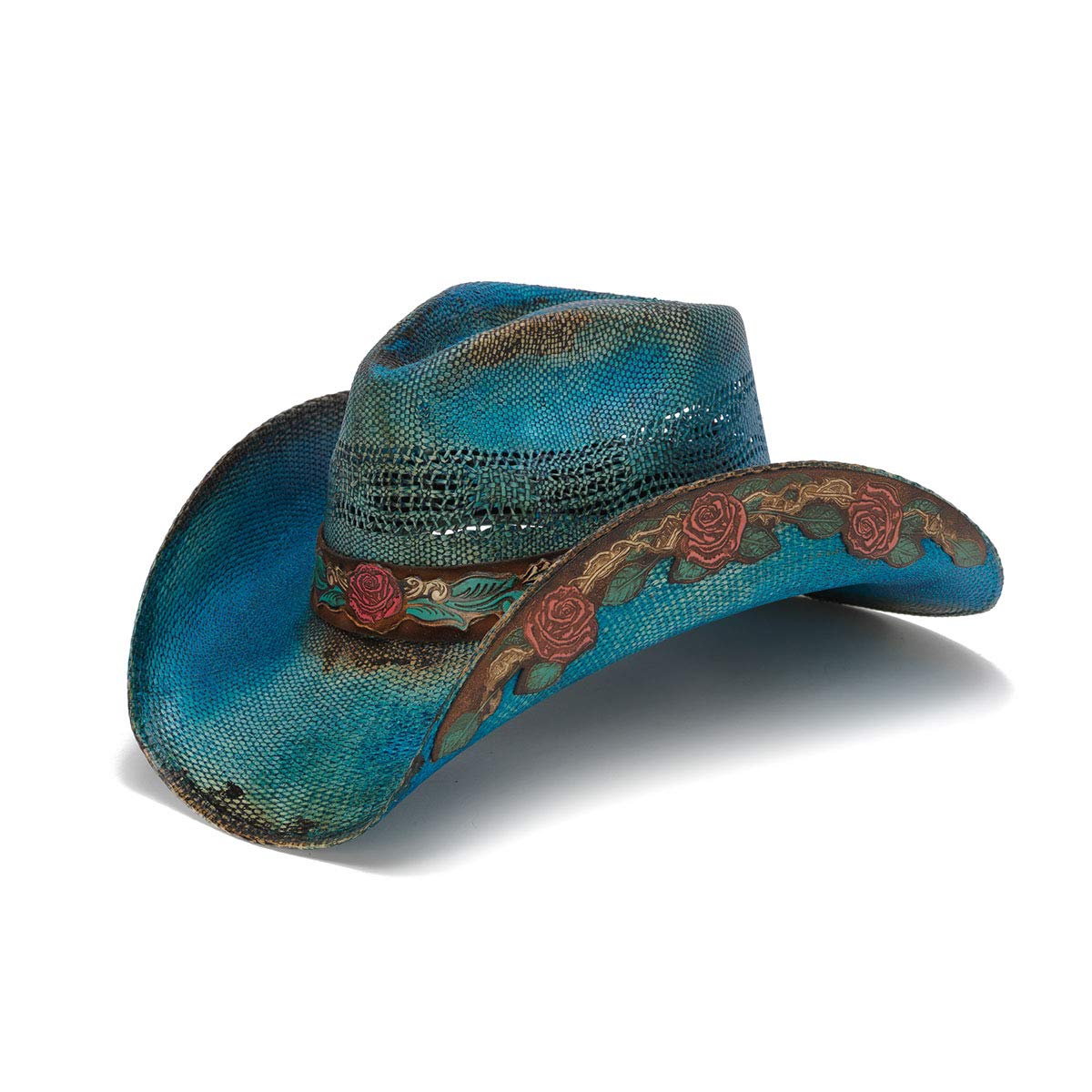 Stampede Hats Women's Love Story Rose Straw Western Hat S Blue by Stampede Hats