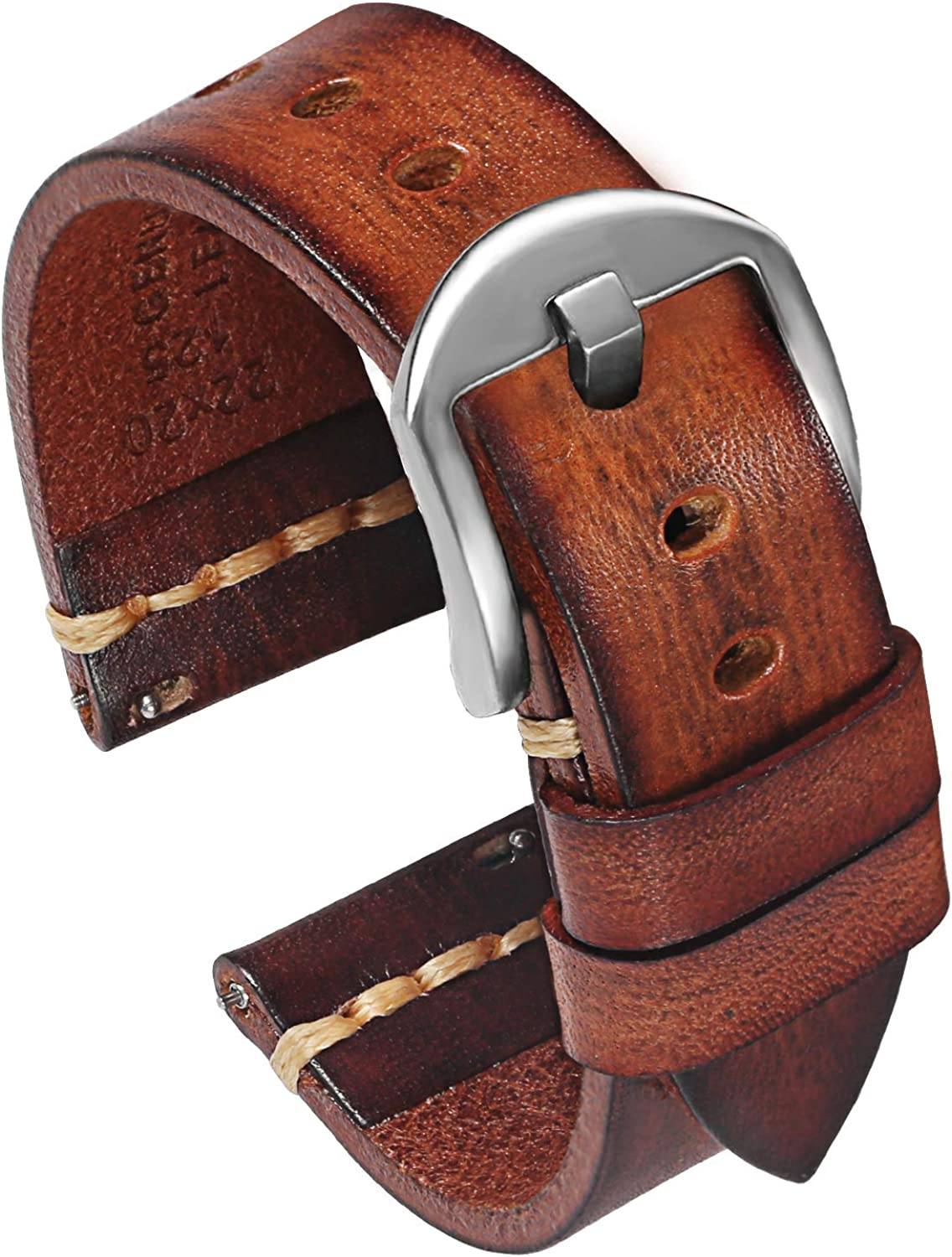 PBCODE Quick Release Leather Watch Bands for Men Women Handmade Vegetable Tanned Calfskin Vintage Genuine Leather Watch Straps 18mm 20mm 22mm 24mm