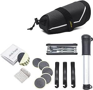 GUSODOR Bicycle Repair Bag Set Bike Repair Tools 7 in 1 Kits Bike Maintenance Fix Tools with Saddle Bag Mini Pump Tire Inflator Patch Crowbar Chain Splitter for Outdoor Camping Home Essential