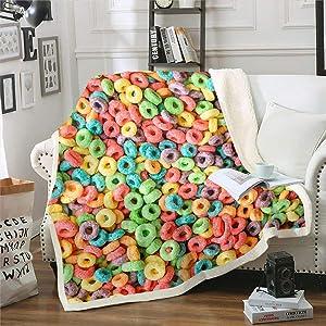Erosebridal Nursery Colorful Cereal Blanket Throw Puffed Food Fleece Blanket Breakfast Food Sherpa Blanket for Kids Girls Dessert Snacks Fuzzy Blanket Queen 90