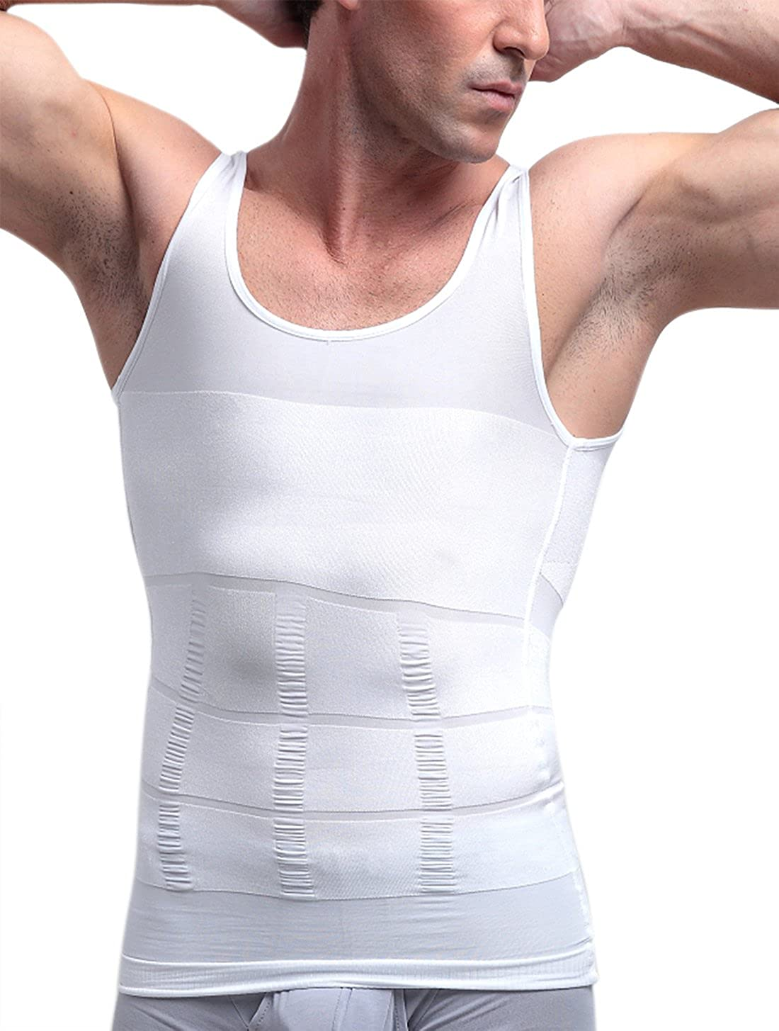 33575e22aefed Men s Slimming Body Shaper Vests Belly Waist Control Shirt Abs Abdomen  Tariner Size Small White at Amazon Men s Clothing store