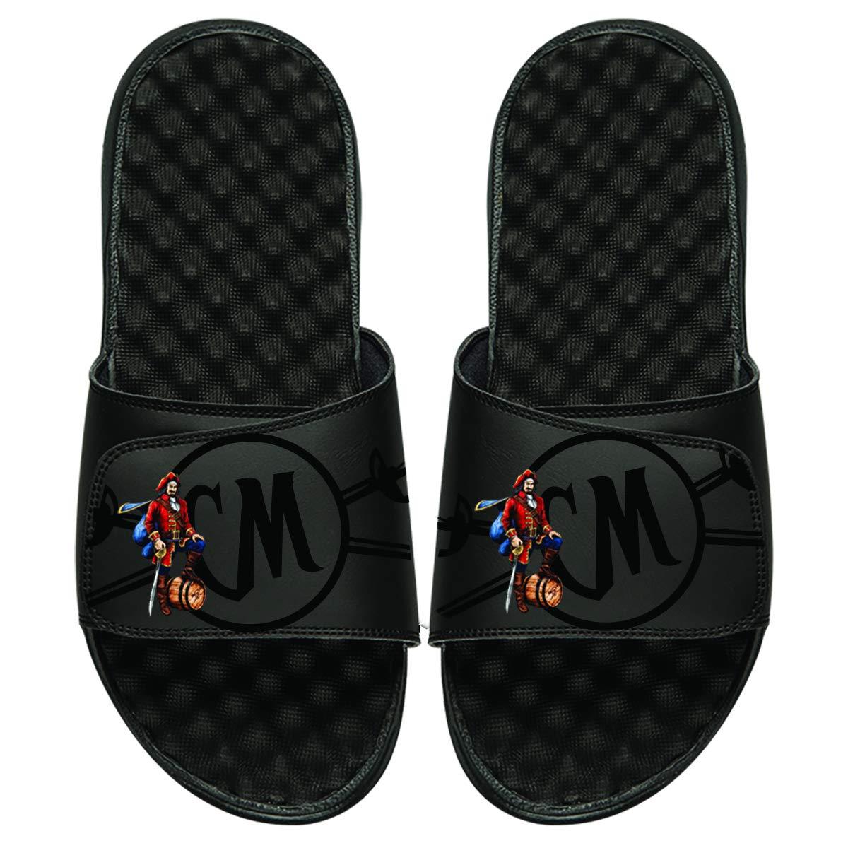 ISlide Mens Captain Morgan Tonal Pop Slippers, Black, 2
