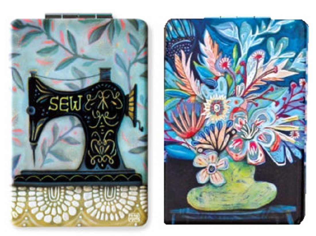 Allen Designs 2 Compact Mirrors (Vessel of Love and Vintage Stitch)