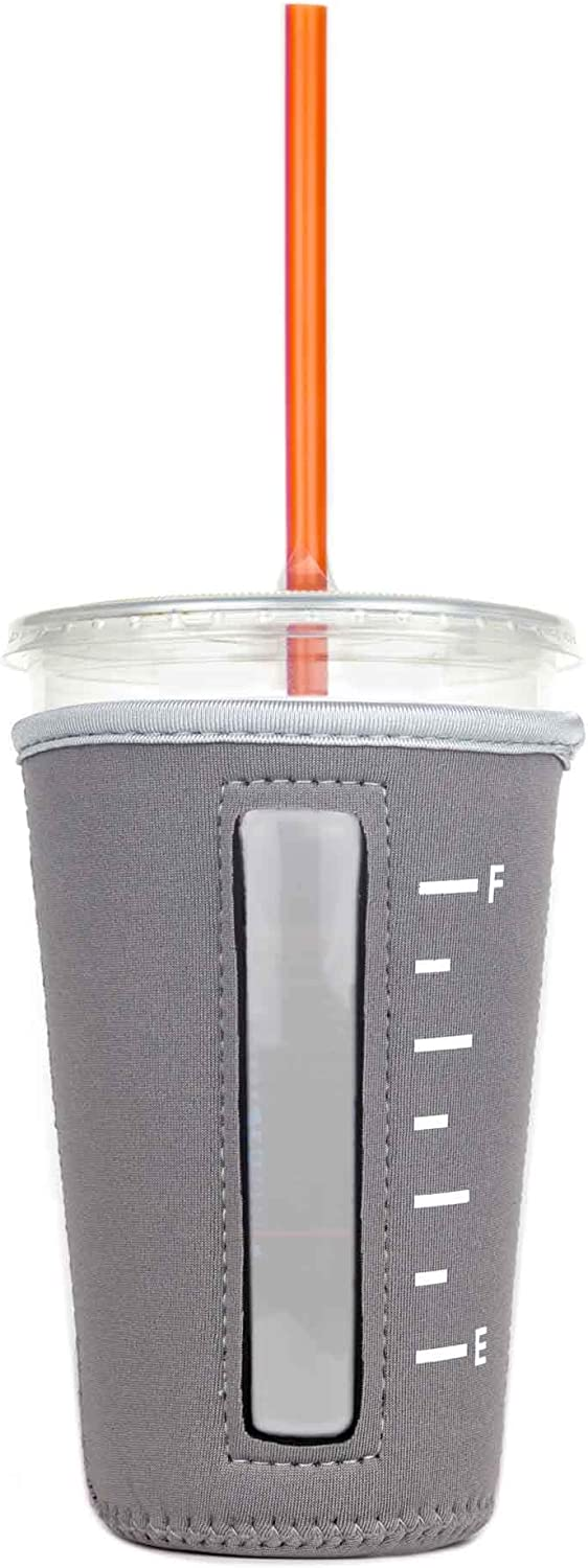Insulated Neoprene Cup Sleeve for Iced Beverages (Grey, Medium)