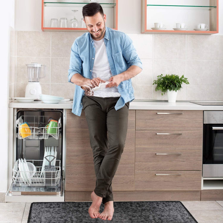 Gray, 20x60 Pauwer Anti Fatigue Floor Mat Thick Cushioned Non Slip Kitchen Mat Waterproof Stain Resistant Floor Rug Comfort Standing Mat for Office Desk
