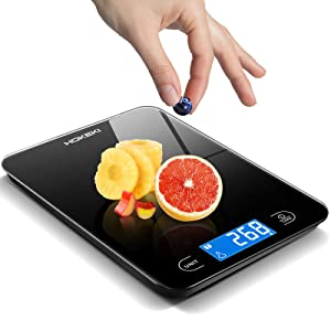 Food Scale, HOKEKI Digital Kitchen Scale Electronic Scale Weight Grams and Ounces with LCD Display & Waterproof Glass Surface for Cooking Baking, Battery Include