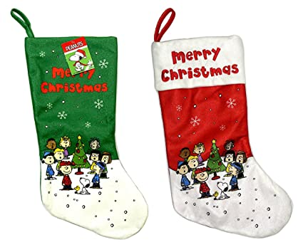 peanuts snoopy charlie brown and the gang merry christmas stockings red and green 185 in - Snoopy Christmas Stocking