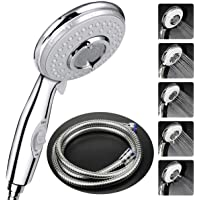 Shower Head with Hose(1.75m) Universal,High Pressure Self Cleaning Never Clog with 5 Mode Function,with Switch Handheld Shower.1.75 m Metal Shower Hose - Chrome Suitable for All Shower Types.