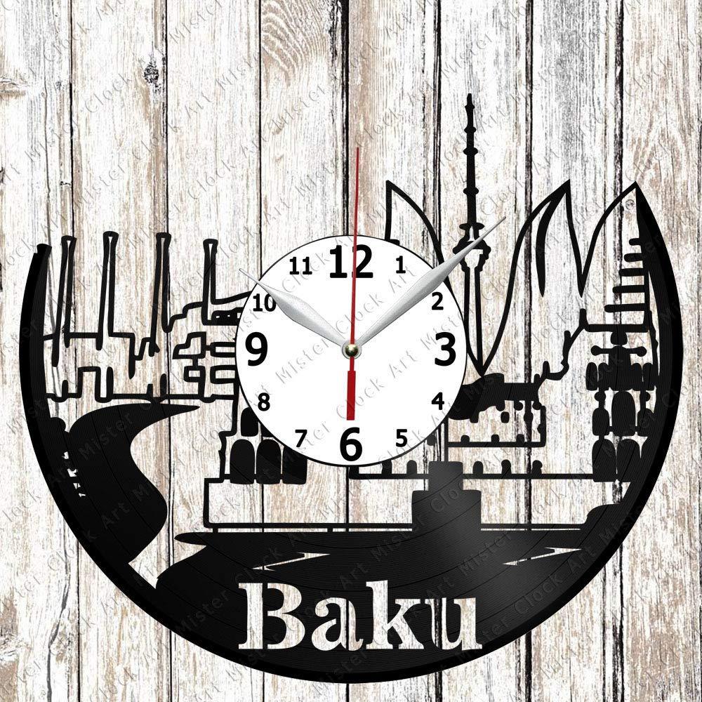 Baku Vinyl Record Wall Clock Home Art Decor Unique Design Handmade Original Gift Vinyl Clock Black Exclusive Clock Fan Art