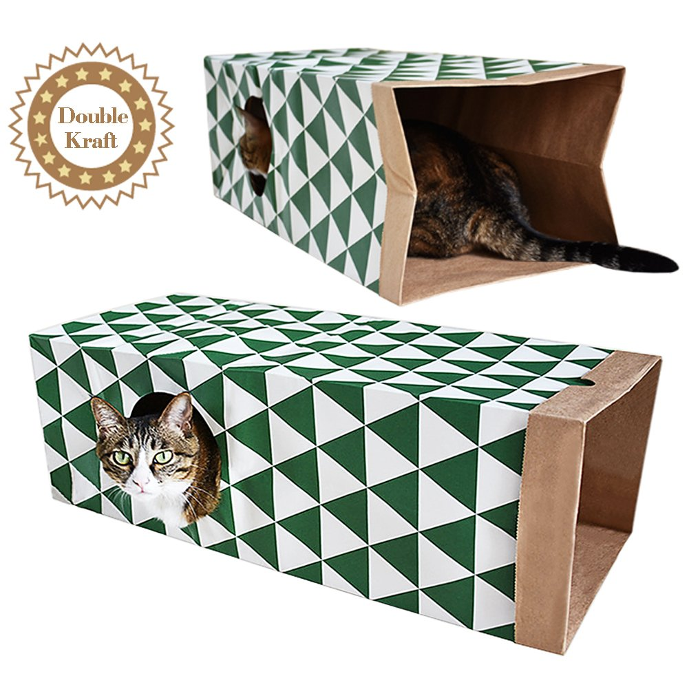 B Bascolor Cat Toys Interactive Tunnel with Kraft Paper Bag Collapsible for Cats Kitten