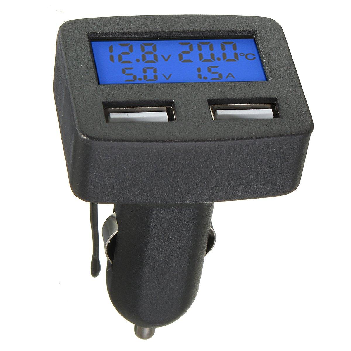 FeLiCia 12 V 24 V Universal Dual USB Schnittstelle Auto Ladeger/ät Mit Voltmeter Amperemeter Thermometer LCD Display