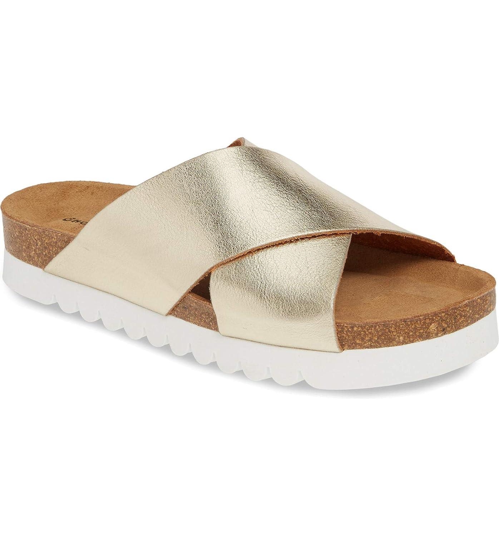 3131b0dffffba Amazon.com | Chocolat Blu Skyla Sandal - Cork Slip-On - Metallic ...