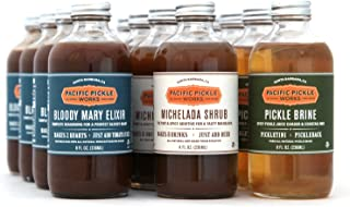 product image for Mixed Case of Savory Cocktail Mixers (8oz 12-pack) - Bloody Mary Elixir, Michelada Shrub and Pickle Brine
