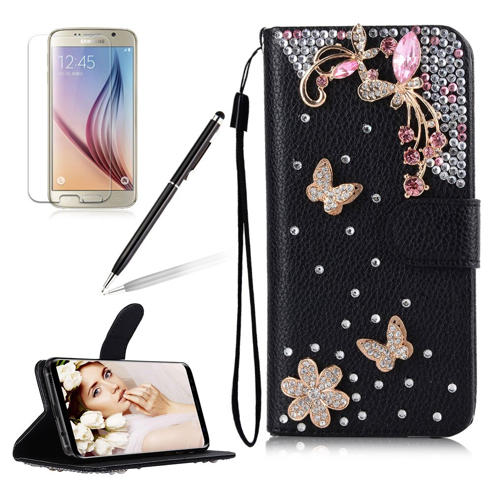 Girlyard For Samsung Galaxy S6 / Samsung Galaxy G9200 Diamond Wallet Leather Case Cover Bling Glitter Crystal PU Leather Folio Flip Stand Protective Magnetic Case Cover with Wrist Strap and Card Slots White Butterfly Flower