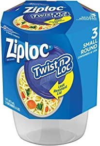 Ziploc Twist 'N Loc Containers, Small 3 Cup (Pack of 6)