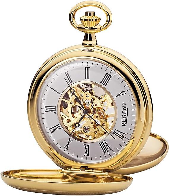 Regent P 37K - Reloj de bolsillo para hombre (mecanismo de esqueleto, con cadena de metal, chapado en oro): Amazon.es: Relojes