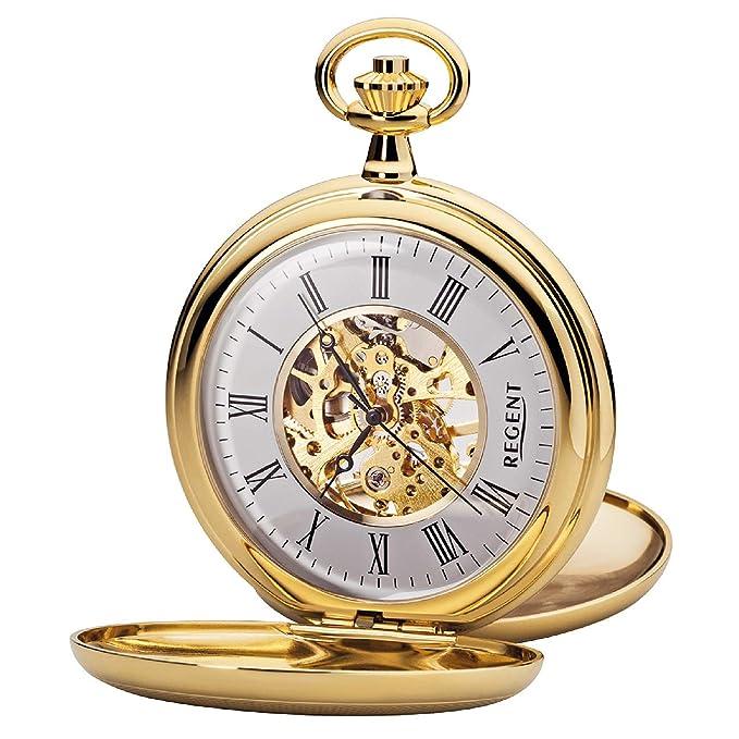 Regent P 37K - Reloj de Bolsillo para Hombre (Mecanismo de Esqueleto, con Cadena de Metal, Chapado en Oro)