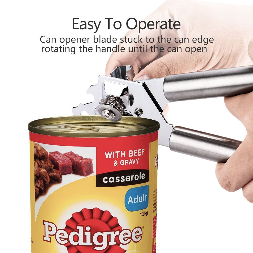 Can Opener Manual Can Opener Smooth Edge with Sharp Stainless Steel Comfortable Ergonomic Handle Round Knob Easy to Operate in Kitchen