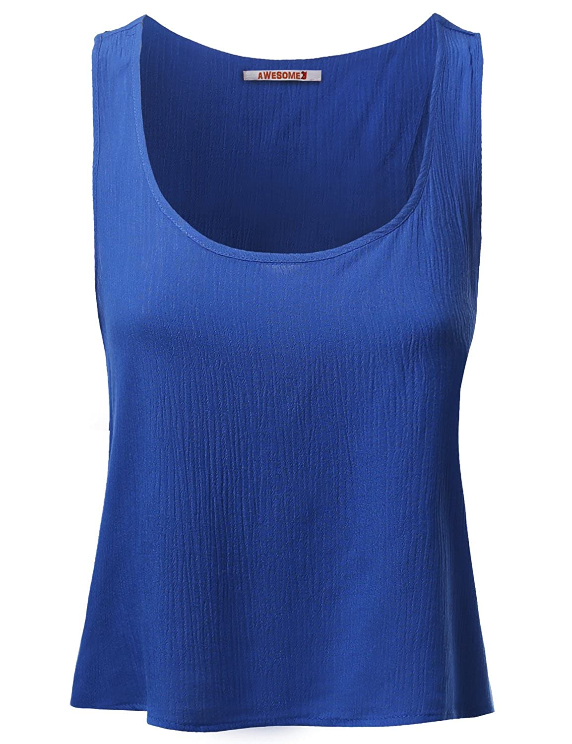 e54d003d04ede4 Awesome21 Women s Basic Gauze Sleeveless Tank Crop Tops at Amazon Women s  Clothing store