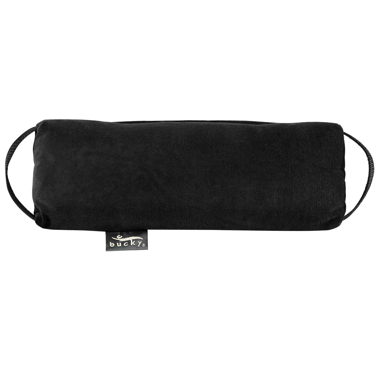 Bucky Baxter Lumbar Pillow, Ergonomic and Supportive, All Natural Buckwheat Hulls, Removable Cover, Adjustable Filling - Black