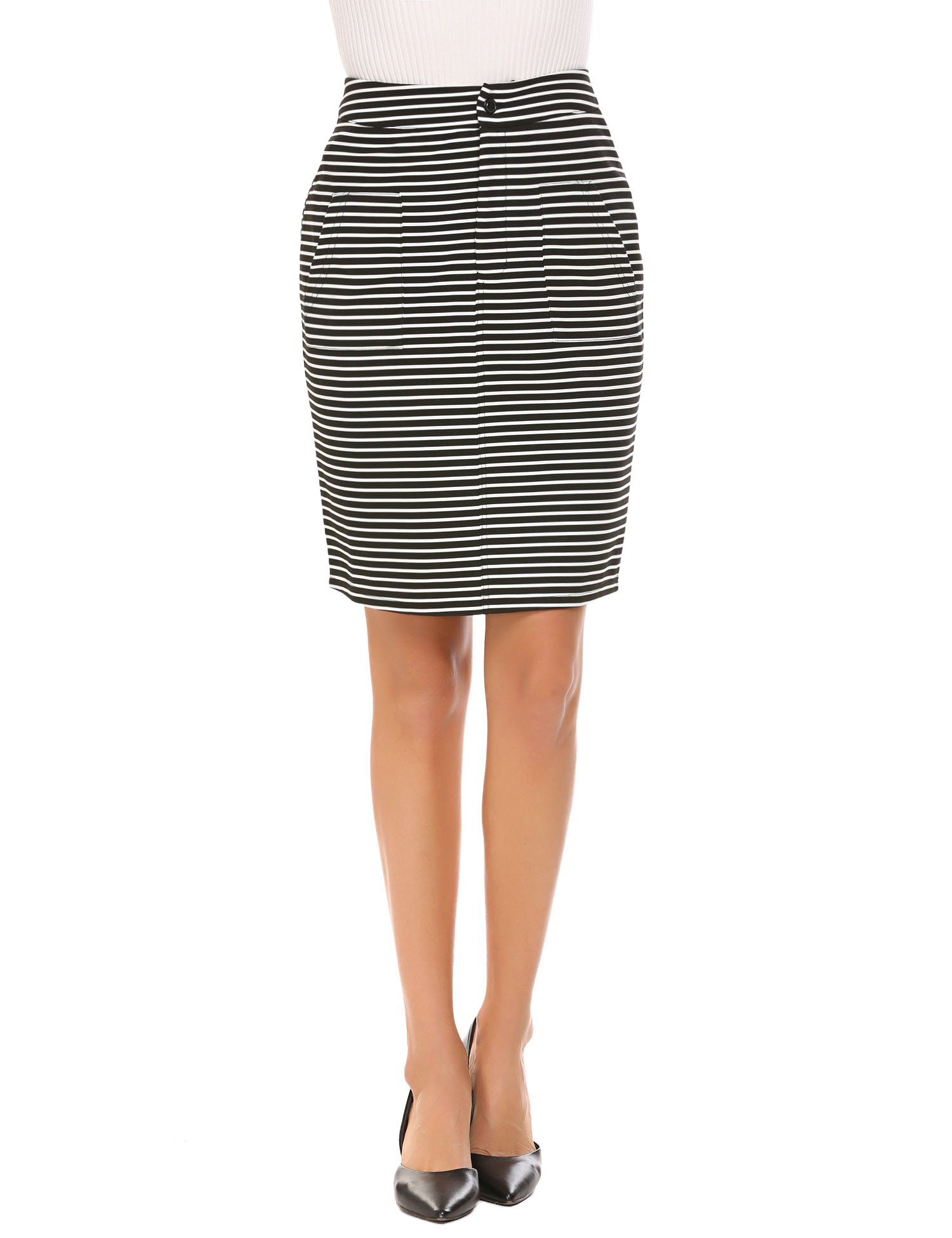 Chigant Women's High Waist Striped Stretchy Pencil Skirt,Black,Medium by Chigant