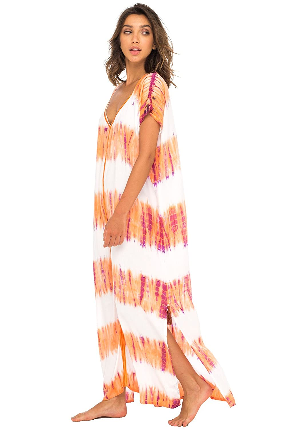 6a9c7b8c80ef5 Back From Bali Womens Long Swimsuit Bathing Suit Cover Up Maxi Beach Dress  Boho Striped Summer Dress Caftan Marine at Amazon Women's Clothing store: