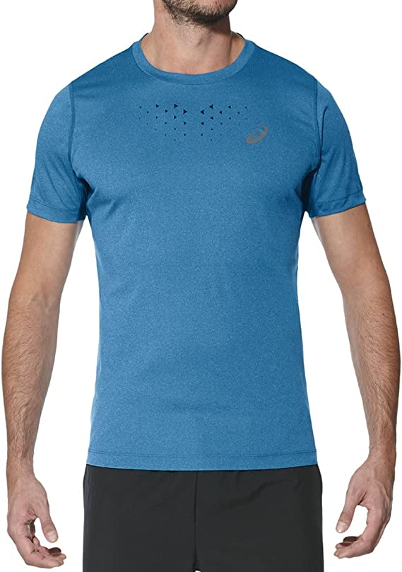 Azul S ASICS SS Top Camiseta Hombre