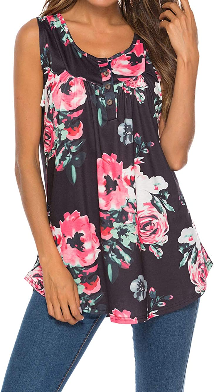 Famulily Women's Flowy Tank Tops Summer Sleeveless Loose Fit Pleated Tunic Shirts