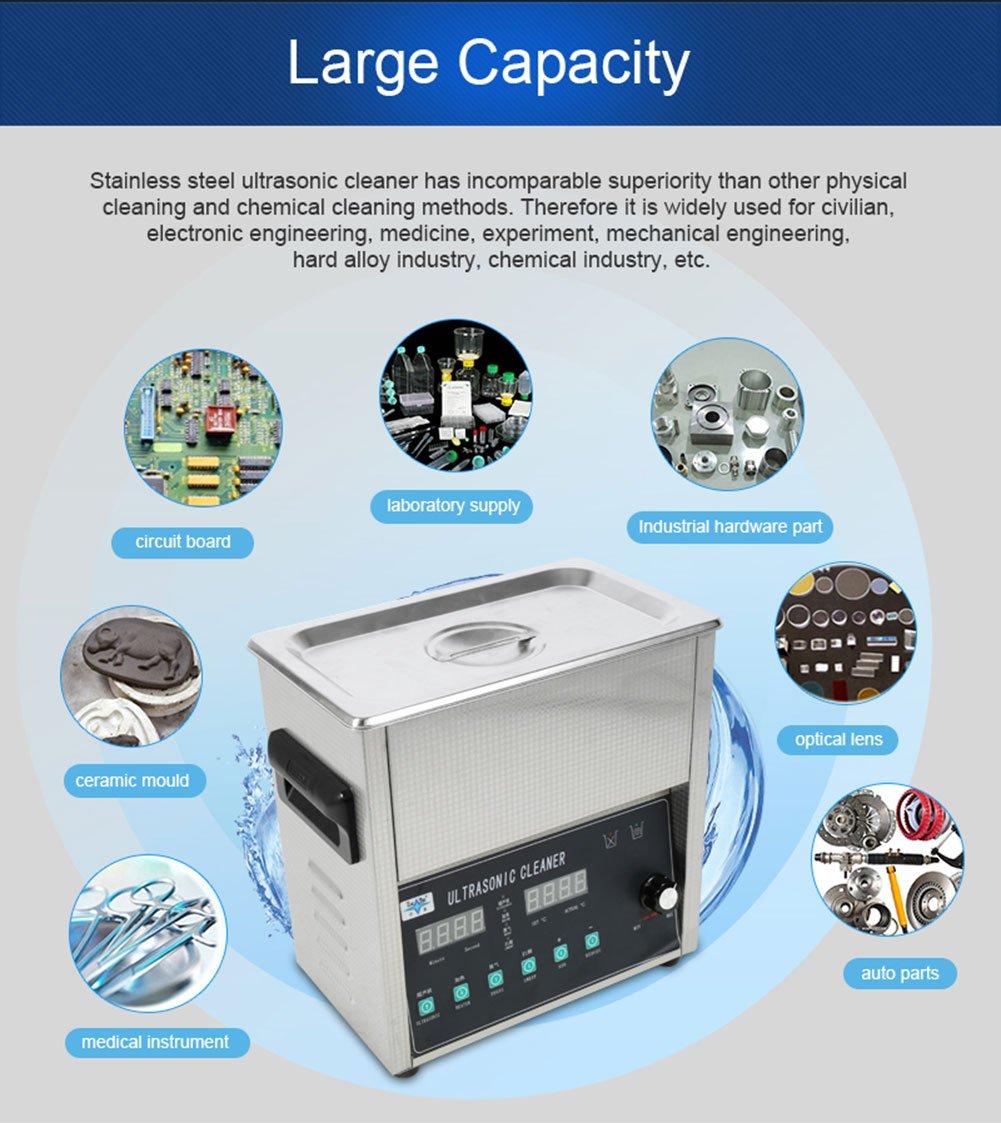 Digital Cleaning Machine, 3L/10L/14L/15L/19L/22L Stainless Steel Industrial Cleaner Tank Watch Glasses Jewelry Cleaning Machine (3L) by Yosoo
