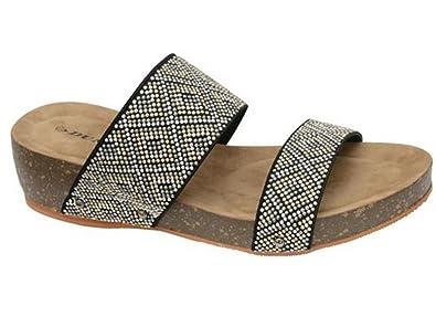 d72f547dff6c25 Dunlop Ladies Low Wedge Memory Foam Platform Summer Slip On Flip Flops  Sandals Shoes Size 3-8  Amazon.co.uk  Shoes   Bags