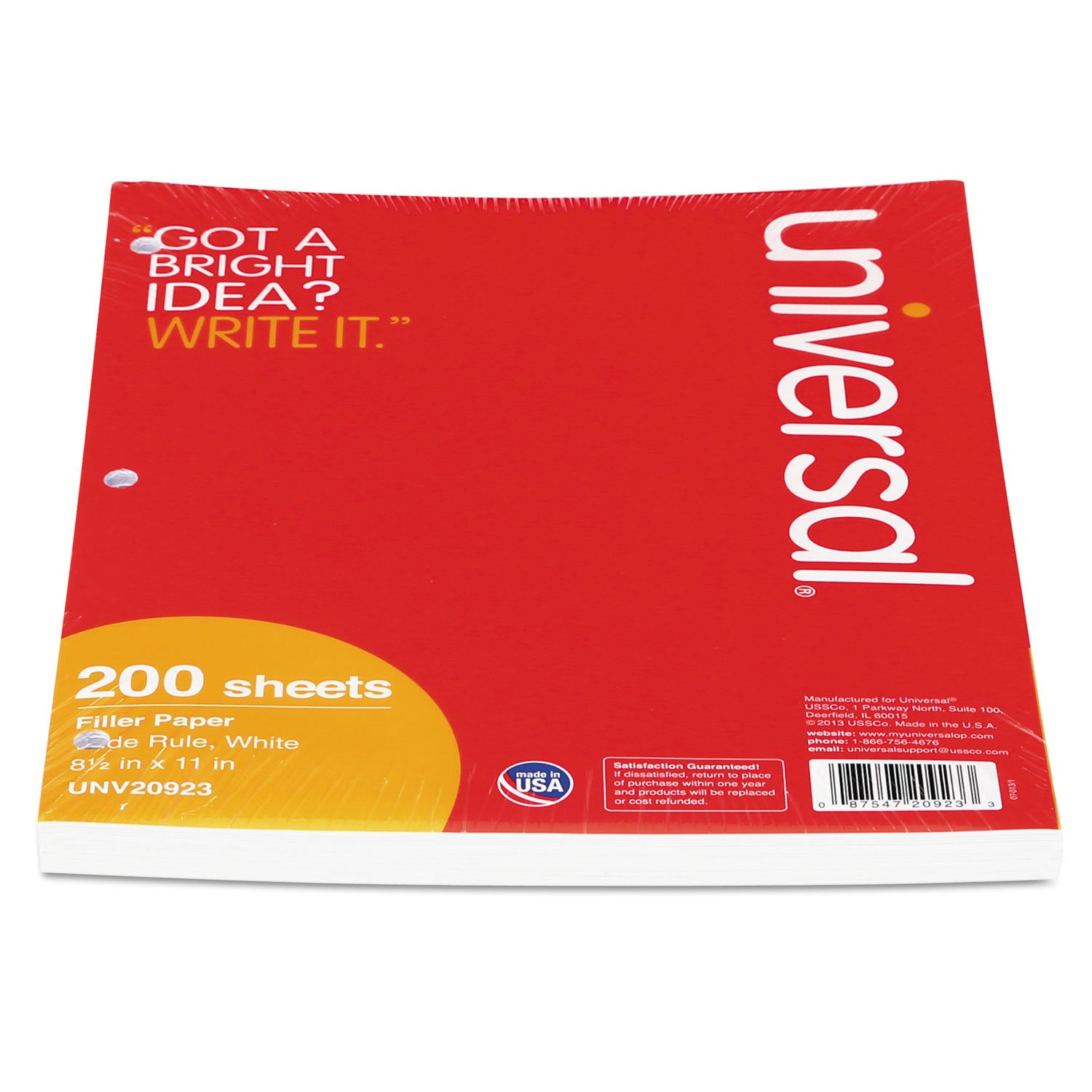 Universal 20923 Filler Paper, 8 1/2 x 11, Wide Rule, White, 200 Sheets/Pack