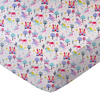 product image for SheetWorld Fitted 100% Cotton Percale Play Yard Sheet Fits BabyBjorn Travel Crib Light 24 x 42, Unicorns, Made in USA