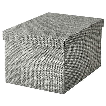 IKEA ASIA KVARNVIK - Caja de almacenaje con Tapa, Color Gris