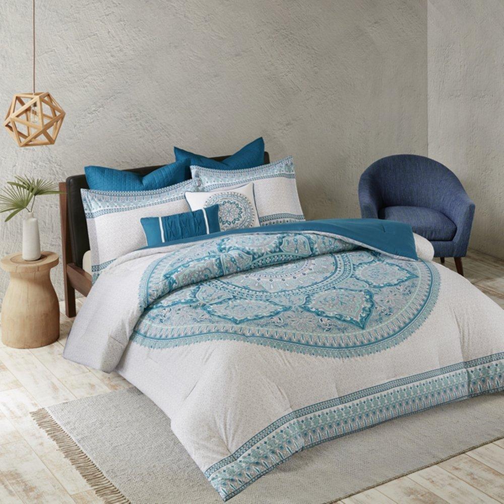7pc Blue Grey Medallion Comforter Full Queen Set, Pretty Bold Boho Chic Bohemian Bedding, Aqua Turquoise Off White Gray, Horizontal Stripe Damask Intricate Pattern, Stylish Mandala Motif Themed