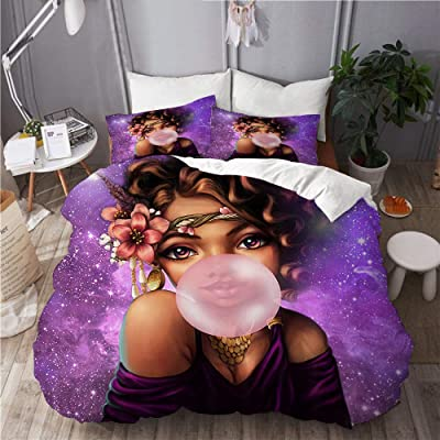 MOTINE Duvet Cover Set,African Girl American Afro Black Woman Gum in Purple Galaxy,Decorative 3 Piece Bedding Set with 2 Pillow Shams Twin Size: Home & Kitchen