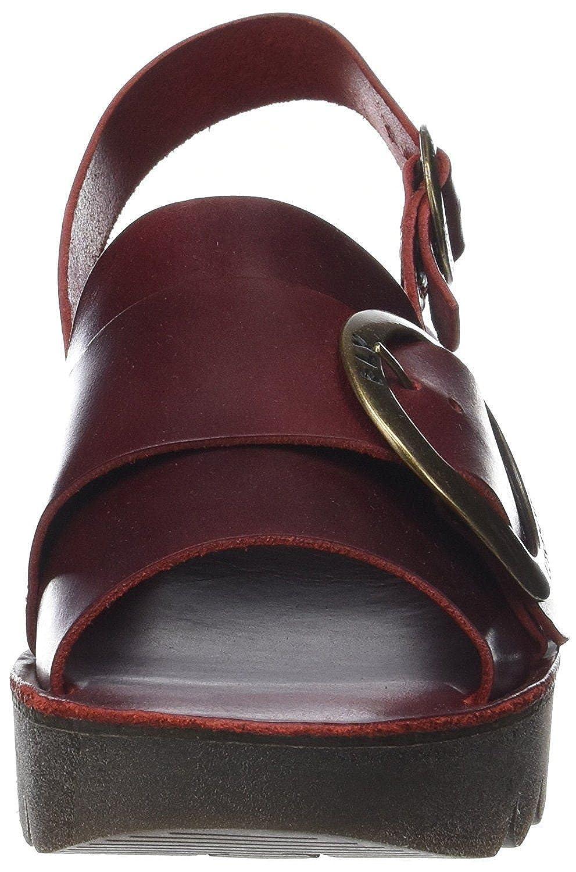 #Fly #Fly #Fly London Yidi190fly Rot Leder Damen Keil Sandalen Schuhe - 181798
