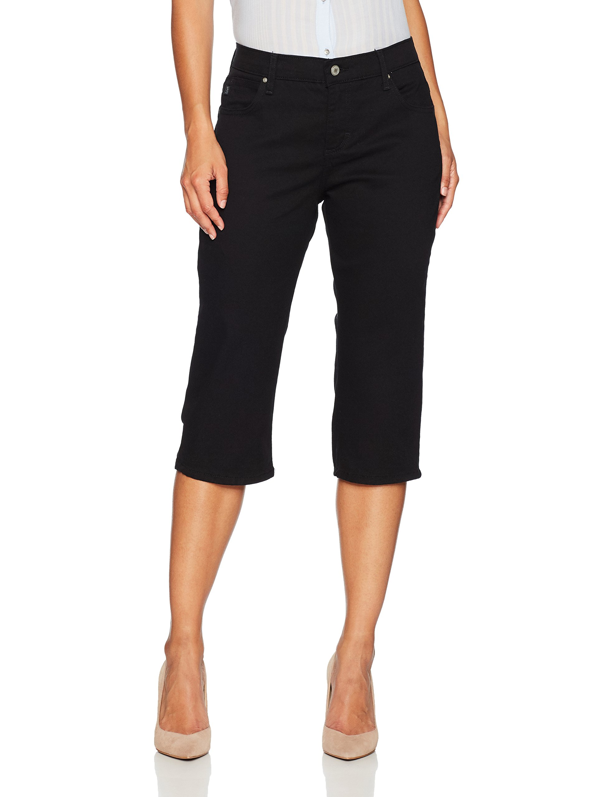 LEE Women's Petite Relaxed Fit Capri Pant, Black, 14