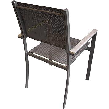 Garten Aluminium Stapelstuhl Mit Polywood / Non Wood   Armlehnen Und  Hochwertiger 4x4 Textilenbespannung Stapelbarer Gartenstuhl