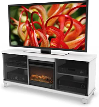 Amazon Com Sonax Holland 60 Inch Fireplace Tv Bench In Frost White Furniture Decor