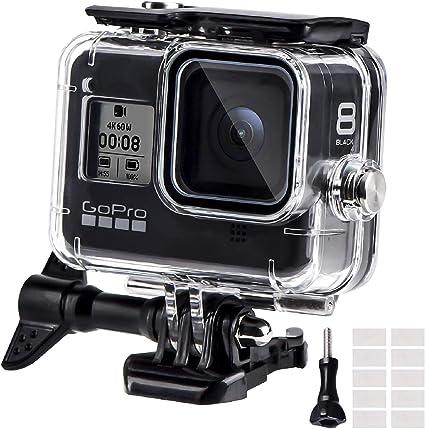 REDTRON Funda Impermeable para GoPro Hero 8 Black, 60M Funda Protectora de Buceo con Pinza de Montaje rápido la, 12 Insertos antivaho para cámara Gopro Hero 8 Black Action 2019: Amazon.es: Deportes
