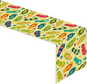 Linen Flip Flop Table Runner Summer Beach Party Home Dinning Room Table Decoration
