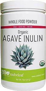 Nubeleaf Agave Inulin Powder - Non-GMO, Gluten-Free, Raw, Organic, Vegan Natural Sweetener - Single-Ingredient Nutrient Rich Superfood for Cooking, Baking, Smoothies (10oz Jar)